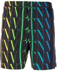 Valentino Vltn Logo-print Swimming Shorts - Black