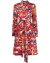 ALESSANDRO ENRIQUEZ Graphic-print Belted Shirt Dress - Red