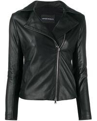 Emporio Armani Zipped Biker Jacket - White