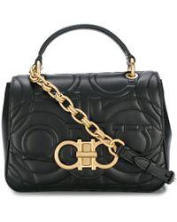 Ferragamo Quilted Gancini Flap Bag - Black