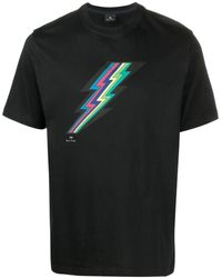 PS by Paul Smith Graphic-print Organic Cotton T-shirt - Black