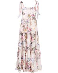 Zimmermann Brighton Tie-shoulder Floral Dress - Pink