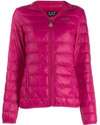 EA7 Printed Logo Puffer Jacket - Pink