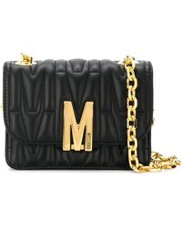 Moschino M-plaque Quilted Crossbody Bag - Black