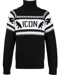 DSquared² Icon Logo Roll-neck Sweater - Black