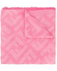 Fendi Silk Wool Blend Scarf - Pink