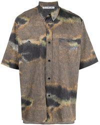 Acne Studios Camicia Con Stampa Camouflage - Marrone