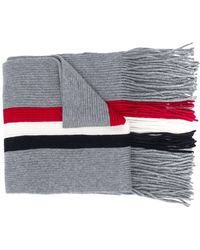 Moncler - Scarf With Logo And Central Stripes - Lyst