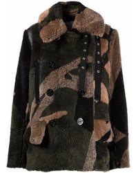 Sacai Cappotto con stampa camouflage - Marrone