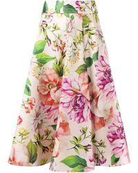 Dolce & Gabbana Flower Print Midi Skirt - Pink