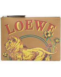 Loewe - Pochette Con Stampa Leone - Lyst