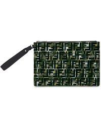 Fendi Camouflage Ff Print Pouch - Green