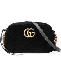 Gucci - Small Velvet Marmont Shoulder Bag - Lyst