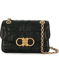 Ferragamo Gancini-embossed Leather Shoulder Bag - Black