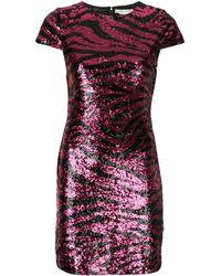 Alice + Olivia Nat Sequin Animal Print Mini Dress - Pink