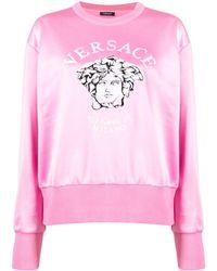 Versace - Embroidered Medusa Crew Neck Sweatshirt - Lyst