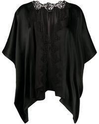 La Perla Petit Macrame Silk Night Robe - Black