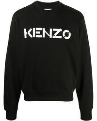 KENZO Felpa con stampa logo - Nero