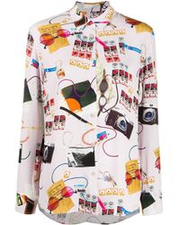 PS by Paul Smith Graphic Print Viscose Shirt - Purple