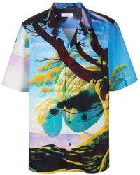 Valentino Dragon At Dawn Shirt 50 Cotton - Blue