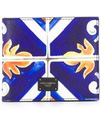 Dolce & Gabbana Bi-fold Wallet In Dauphine Calfskin With Maiolica Print - Blue