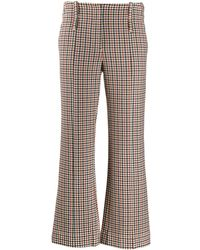 Tory Burch Trombetta Check Trousers - Brown