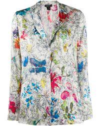 Avant Toi Textured Floral Print Blazer - White