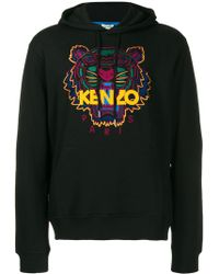 KENZO Tiger-embroidered Cotton-jersey Hoody - Black