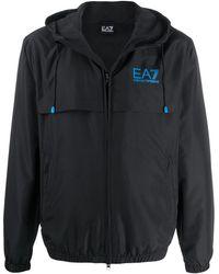 EA7 Layered Style Printed Logo Windbreaker Jacket - Black