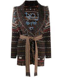 Alanui Patterned Intarsia-knit Cardigan - Brown