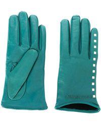Emporio Armani Leather Gloves - Blue