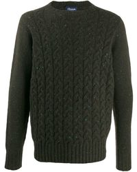 Drumohr Crew-neck Cable Knit Jumper - Green