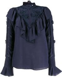 See By Chloé High Neck Ruffled Top - Blue