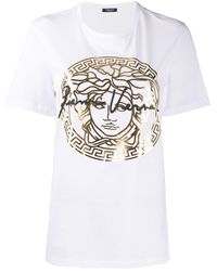 Versace Metallic Medusa Print T-shirt - White