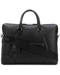 Ferragamo Gancini Embossed Briefcase - Black
