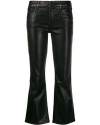 J Brand Jeans Selena Cropped A Vita Media - Nero