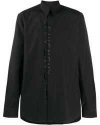 Givenchy Front Embroidered Logo Shirt - Black
