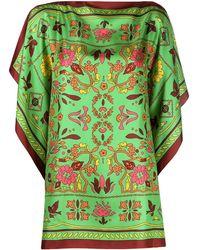 Tory Burch Floral-print Silk Blouse - Green