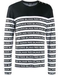 Balmain T-shirt A Manica Lunga Con Stampa A Righe Di - Nero