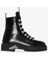 Off-White c/o Virgil Abloh Leather Hiking Boots - Black