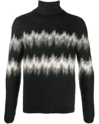 Saint Laurent Abstract-stripe Knitted Sweater - Black