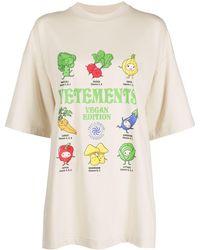Vetements Vegan Print Cotton T-shirt - Natural