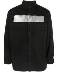 Givenchy Metallic Latex Logo Shirt - Black