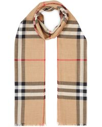 Burberry Silk Blend Giant Check Scarf - Natural