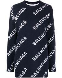Balenciaga Repeat-logo Intarsia-knit Jumper - Blue
