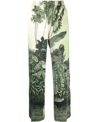 F.R.S For Restless Sleepers Leaf-print Silk Pants - Green