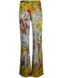 Avant Toi Floral-print Velvet Pants - Metallic