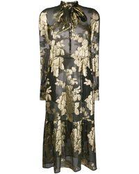 Saint Laurent Floral Brocade Sheer Dress - Black
