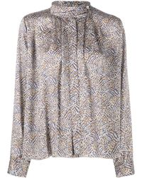 Forte Forte Floral Silk Blouse - Grey