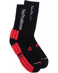 Aries No Problemo Logo-jacquard Socks - Black